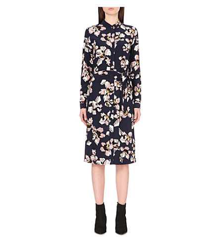 WAREHOUSE Floral-print belted shirt dress (None