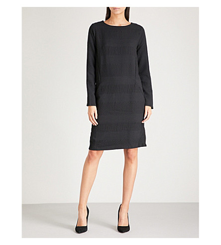 WAREHOUSE Textured stretch-jersey dress (Black