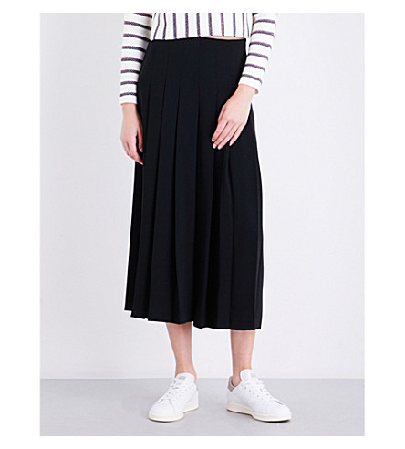 WAREHOUSE Pleated high-rise woven culottes (Black