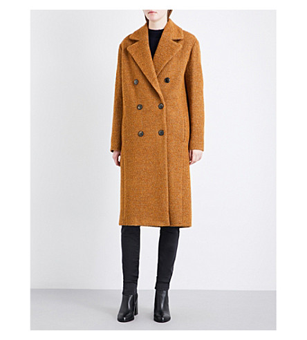 WAREHOUSE Oversized boucle coat (Yellow