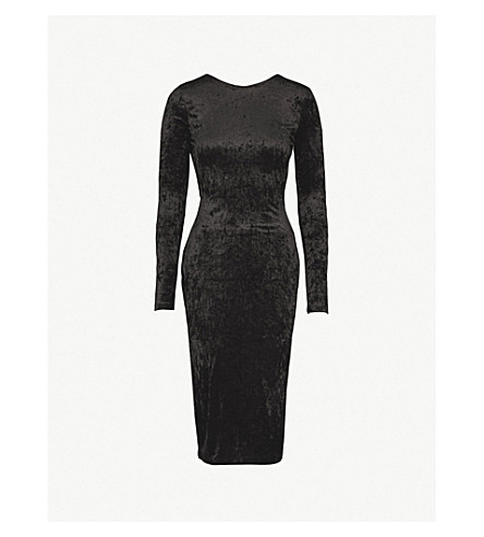 WAREHOUSE Tie-back crushed velvet bodycon dress (Black