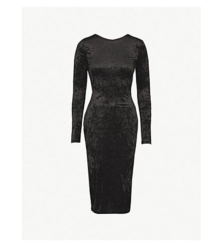 WAREHOUSE 领带背粉碎天鹅绒 bodycon 礼服 (黑色