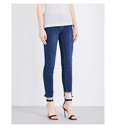 WAREHOUSE Stepped hem skinny mid-rise jeans (Blue