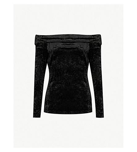 WAREHOUSE Bardot off-the-shoulder crushed velvet top (Black