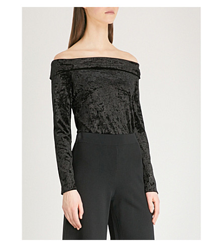 WAREHOUSE Bardot off-the-shoulder crushed velvet top (Black