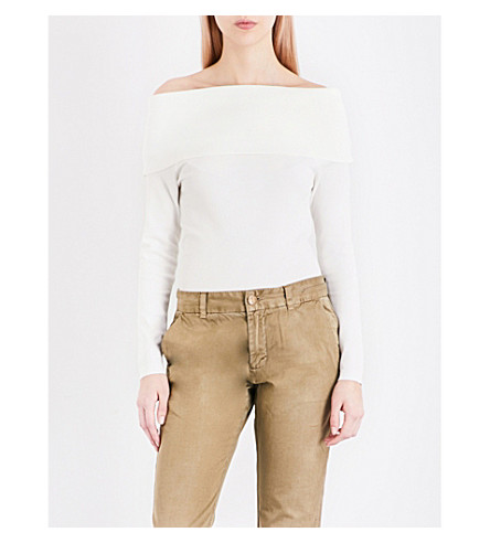 WAREHOUSE Deep Bardot knitted jumper (Cream