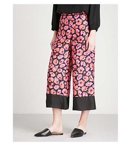 WAREHOUSE Poppy-print silk trousers (Pink