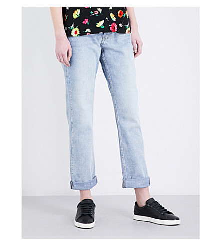 WAREHOUSE Authentic high-rise straight-leg jeans (Pale+blue
