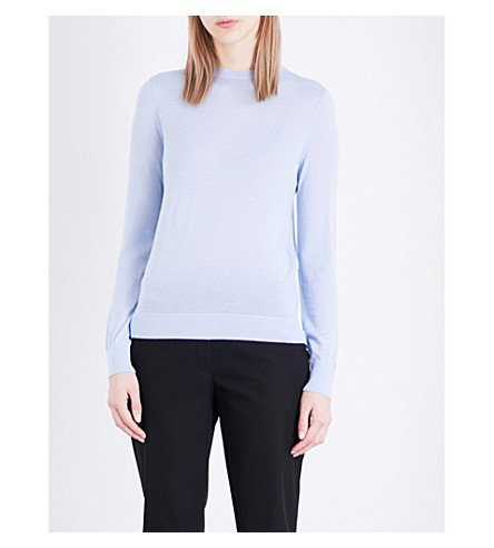 WAREHOUSE Crewneck pure-wool jumper (Blue