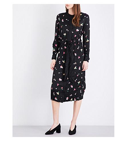 WAREHOUSE Woodstock floral-print crinkled satin shirt dress (Black