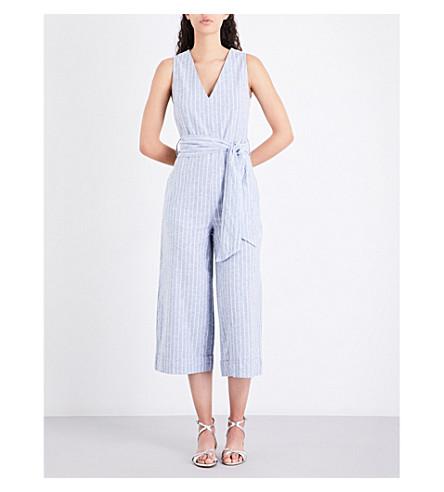 WAREHOUSE Striped cotton-blend jumpsuit (Blue