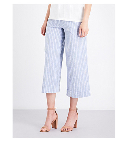 WAREHOUSE Striped wide-leg cropped trousers (Blue