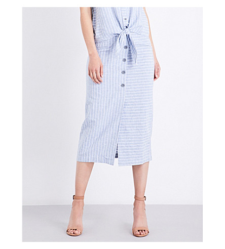 WAREHOUSE Striped cotton-blend skirt (Blue