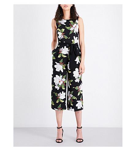 WAREHOUSE Magnolia-print woven jumpsuit (Black