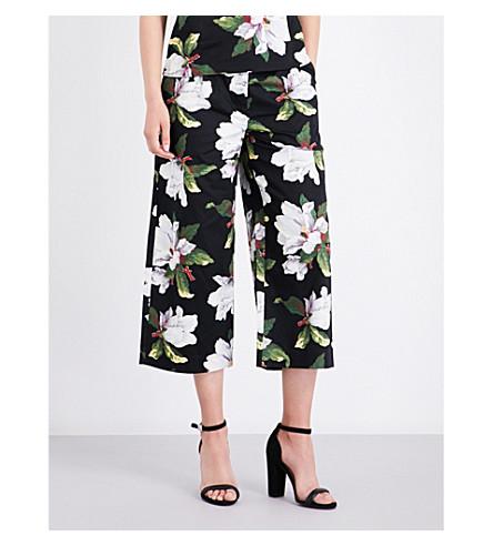 WAREHOUSE Magnolia-print cotton trousers (Black
