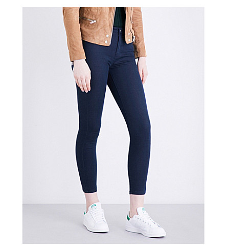 WAREHOUSE Cropped mid-rise stretch-denim jeans (Navy