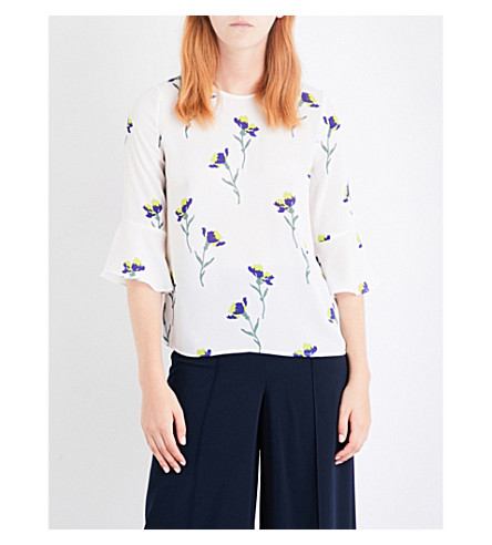 WAREHOUSE Iris floral-print chiffon top (Cream