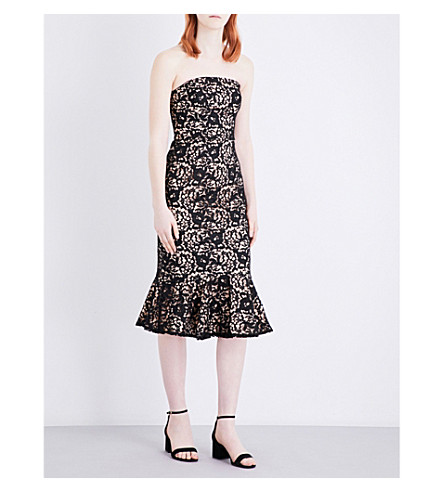 WAREHOUSE Strapless floral lace dress (Black