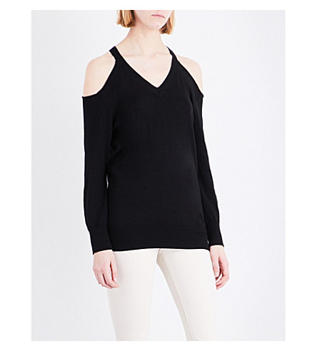 WAREHOUSE Cold-shoulder cotton-blend jumper (Black