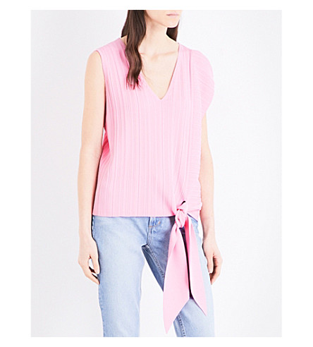 WAREHOUSE Self-tie knitted top (Pale+pink
