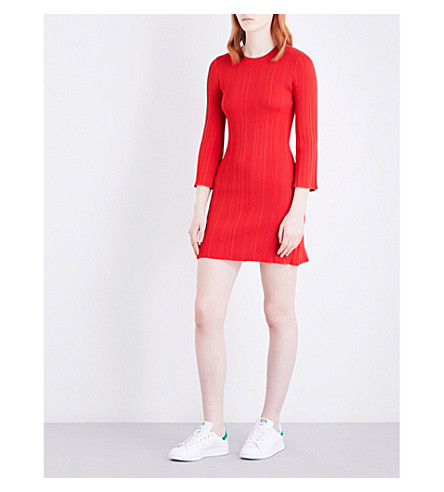WAREHOUSE Flute-sleeve knitted dress (Red