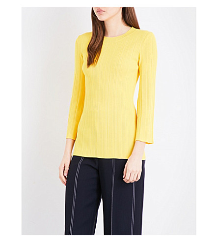 WAREHOUSE Ribbed flute-sleeve knitted jumper (Yellow