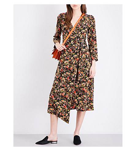 WAREHOUSE Sidney floral-print crepe wrap dress (Black