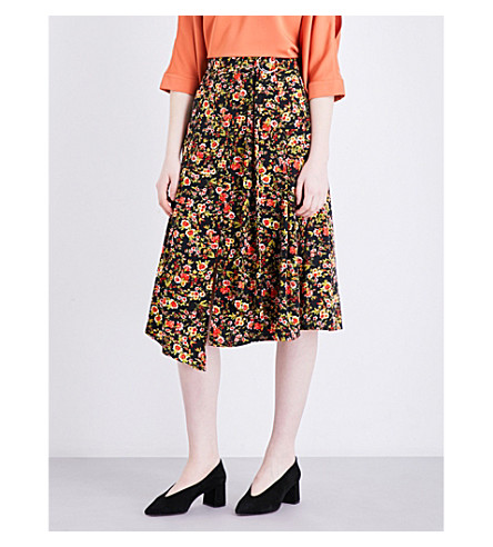 WAREHOUSE Sidney floral midi skirt (Black