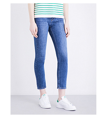WAREHOUSE Straight cropped mid-rise jeans (Blue