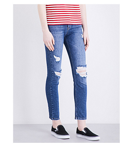 WAREHOUSE Distressed straight mid-rise jeans (Blue
