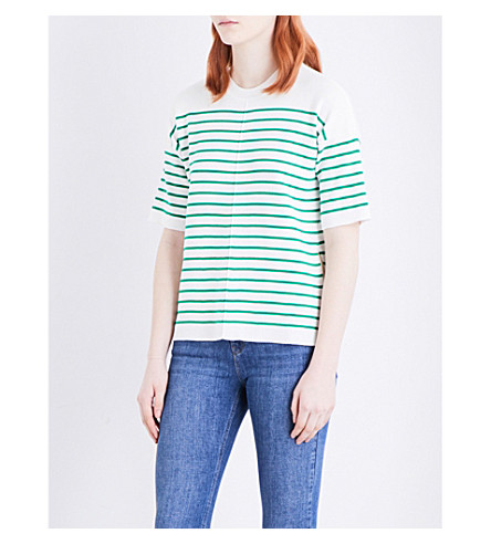 WAREHOUSE Striped cotton-blend knitted top (Green