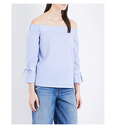 WAREHOUSE Bardot cotton-poplin top (Blue