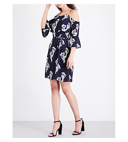 WAREHOUSE Iris-print cold-shoulder chiffon dress (Navy