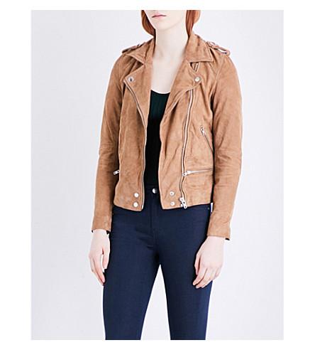 WAREHOUSE Suede biker jacket (Brown