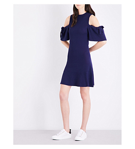 WAREHOUSE Cold-shoulder knitted dress (Navy