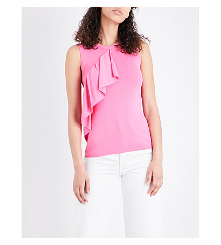 WAREHOUSE Frilled-panel woven top (Bright+pink