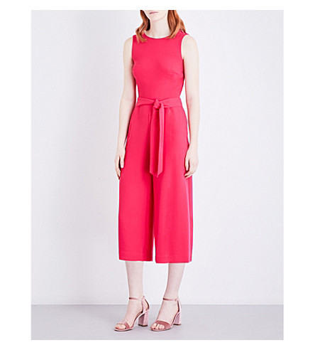 WAREHOUSE Crossover-back crepe jumpsuit (Bright+pink