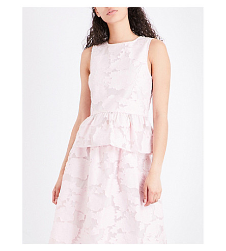 WAREHOUSE Peplum devoré top (Pale+pink