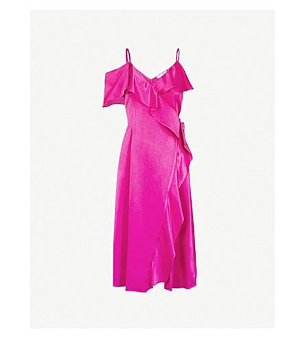 WAREHOUSE V-neck frilled-panels satin midi dress (Bright+pink