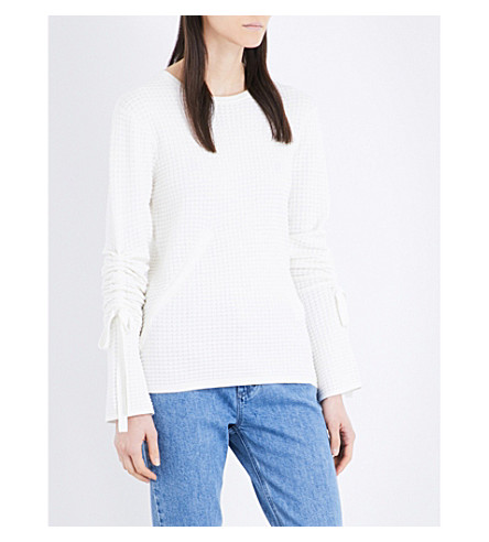 WAREHOUSE Drawstring-sleeve waffle-knit jumper (Cream