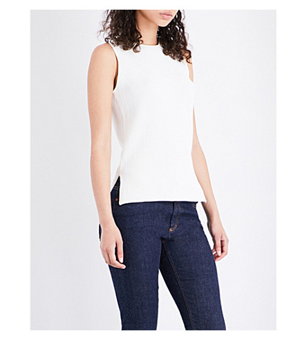 WAREHOUSE Sleeveless ribbed top (Cream