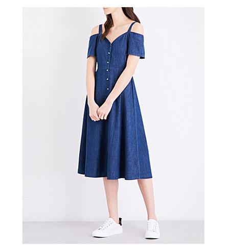 WAREHOUSE Sweetheart-neckline denim dress (Blue