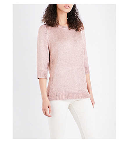 WAREHOUSE Metallic chainmail-knit top (Coral