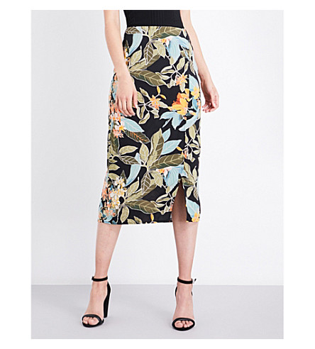 WAREHOUSE Tropical garden fitted skirt (Black