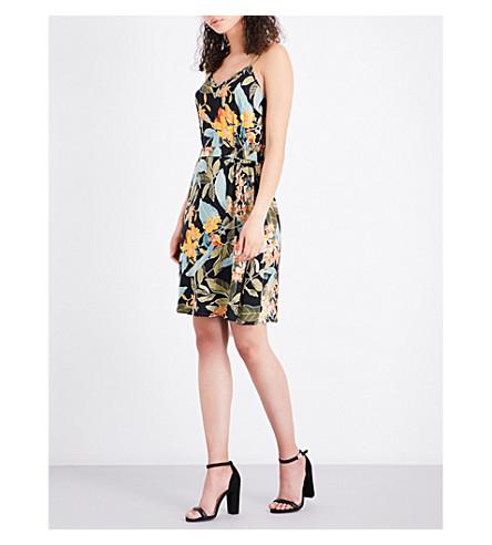 WAREHOUSE Tropical garden-print woven dress (Black