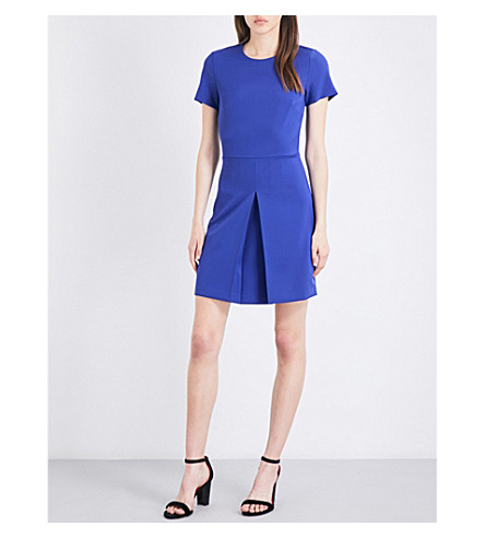 WAREHOUSE Box-pleated crepe dress (Bright+purple