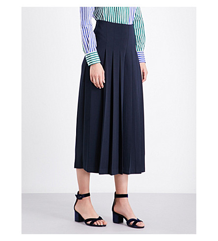 WAREHOUSE Pleated-front woven culottes (Navy