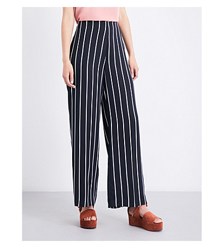 WAREHOUSE Striped cady pants (Black