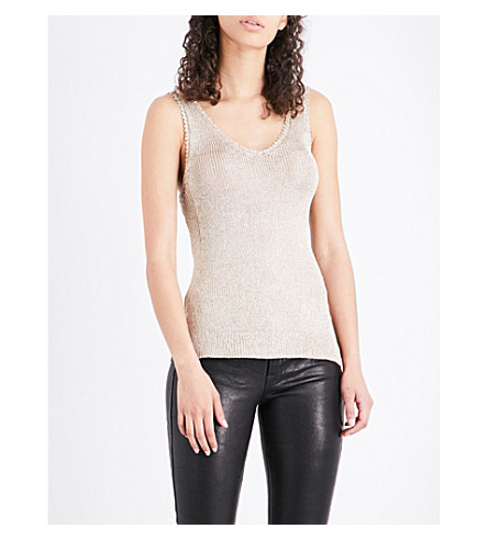 WAREHOUSE Metallic knitted vest (Gold