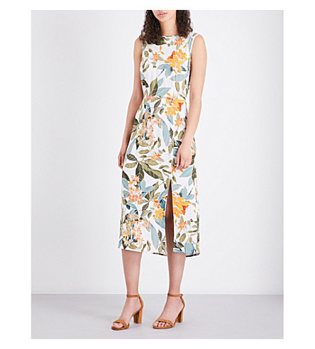 WAREHOUSE Tropical Garden tie-back woven dress (Cream